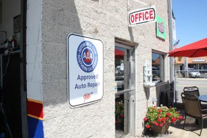Office entrance, showing our AAA Approved Auto Repair sign